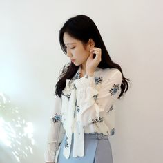 Floral Print Self-Tie Ribbon Blouse | mixxmix | Shop Korean fashion casual style clothing, bag, shoes, acc and jewelry for all