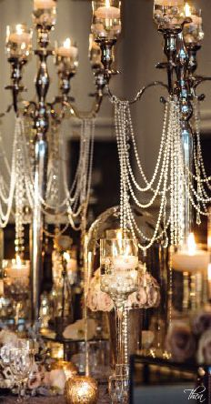 Wedding Tablescape & Reception Décor ● Great Gatsby 1920's Inspired