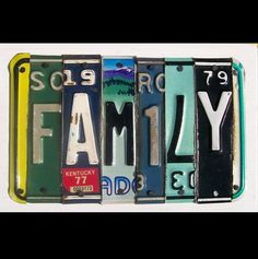 License Plate Art - Funky FAMILY Word Block - Custom Words Available - Recycled Vintage Art - Salvaged Wood - Upcycled Artwork via Etsy License Plate Crafts, Old License Plates, License Plate Art, Licence Plates, Word Block, Car Tags, Love My Family, Word Families, Letters And Numbers