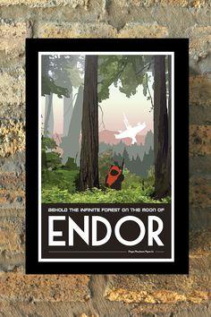 ENDOR Star Wars Travel Poster Vintage Print Rückkehr von MMPaperCo