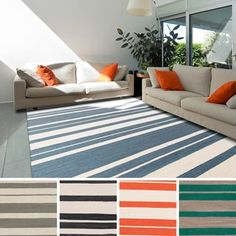 Olympia Flatweave Striped Area Rug (8' x 11') - Free Shipping Today - Overstock.com - 16677782 - Mobile