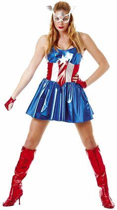 *CLEARANCE* Marvel Miss American Dream Women/'s Fancy Dress Costume Rubies