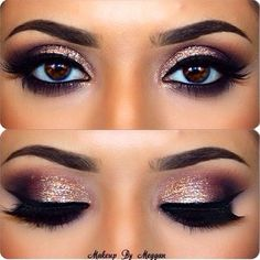 Don't you just love it! beautiful smoky pink glitter eyes with fake nails✨ If you want more pins like this click that follow and like button Love you guys xox Jassy✨