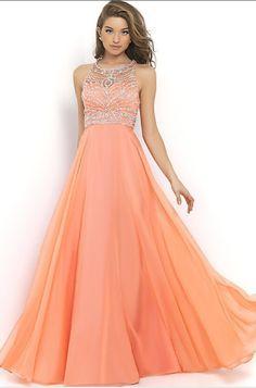 Elegant Pink-Peach Chiffon A-Line 2015 Halter Bandage Backless Sparkly Beading Long Prom Dress at PromGirl.com