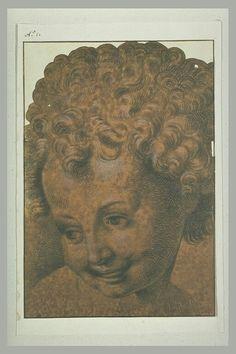 Copie d'après  ALLEGRI Antonio Ecole lombarde Tête de jeune enfant, les cheveux bouclés