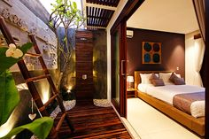 The ensuite outdoor showers at Chandra Villa in Bali, Indonesia feature inspiring modern Balinese designs for the perfect romantic getaway. House Design, Outdoor Bathrooms, House Styles, Outdoor Baths, Outdoor Shower, Home, Outdoor Bedroom, Bedroom Design, Luxurious Bedrooms