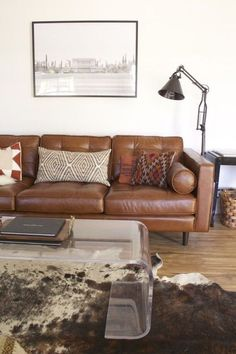 Brown Leather Sofa With Metal Legs Article Triplo Contemporary