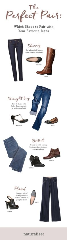 Which Shoes to Pair With Your Favorite Jeans - pair skinny jeans with ballet flats or riding boots, mix straight legs with a t-strap pump or embellished flat, pair bootcut jeans with short booties, and accessories those flares with pointy flats or sexy peep toes