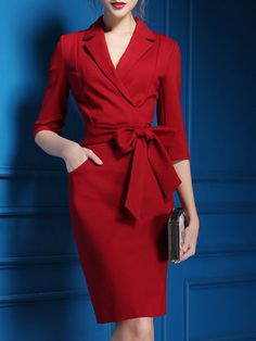 Shop Midi Dresses - Polyester 3/4 Sleeve Elegant Midi Dress online. Discover unique designers fashion at JustFashionNow.com.