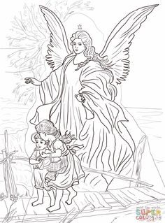 Guardian angel and children Catholic Coloring Page (there are other beautiful angel pictures on this website) Angel Coloring Pages, Fairy Coloring, Colouring Pages, Coloring Pages For Kids, Coloring Books, Angel Drawing, Free Printable Coloring Pages, Colorful Pictures, Mandala