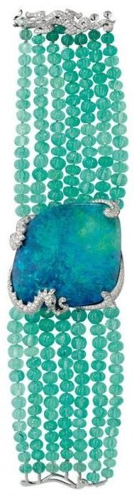 Opal, diamond, and emerald bead bracelet, by Cartier.  Via Diamonds in the Library.