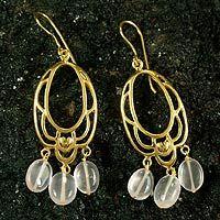 Gold vermeil rose quartz flower earrings, 'Romance'