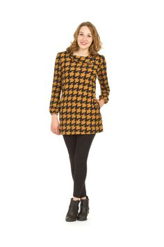 Papillon Houndstooth Sweater Dress in Dresses