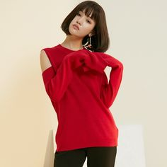 Oversized Scoop Neck Cold Shoulder Jersey Red Sweater Basics - OACHY The Boutique #sweater, #oversized, #neck, #oachy, #boutique