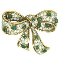 Gold Diamond Emerald Pin at 1stdibs