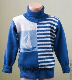 Купить Свитер из шерсти Морские мотивы - синий, рисунок, свитер, свитер шерстяной, свитер детский