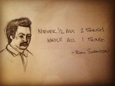 Quickie illustration of this pearl of motivation from Ron Swanson to help me get through this week. There are a lot of things I need to get done and it's doable but difficult. I'm going to keep this little nugget with me to push through to the finish line! #handdrawn #pencil #illustration #motivation #motivationalquote #motivationmonday #roughpencils #ronswanson #draw #drawing #doodle #sketch #animator #animatorinprogress #artschool #art #artist #artsagram #instaart #vancity #vancouver #vfs…