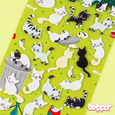 This sheet includes different cat stickers made from soft felt. Decorate your books, notebooks, cards and gifts!  Made in Korea.