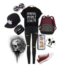 """""""Why start trouble?"""" by xxabbeybearxx ❤ liked on Polyvore featuring Samsung, Topshop, Victoria's Secret, Converse, PhunkeeTree and Replay"""