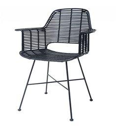 HK-living Kuip stoel rotan zwart met metalen frame 67x55x83cm - wonenmetlef.nl