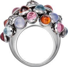 Cartier. Paris Nouvelle Vague ring - White gold, diamonds, pink tourmalines, blue chalcedonies, aquamarines, garnets.