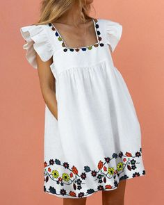 Casual Dresses, Short Dresses, Casual Outfits, Fashion Dresses, Summer Dresses, Floral Dresses With Sleeves, Dress Tutorials, Looks Style, Ruffle Dress