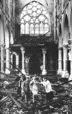 A wedding is performed in a bombed church in London during World War II.