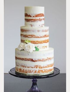 10 Sensational Semi-Naked Wedding Cakes ~  we ❤ this! moncheribridals.com #nakedweddingcake