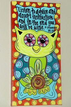 PAINTED OWL CANVAS... Super Cute. $25.99, via Etsy.