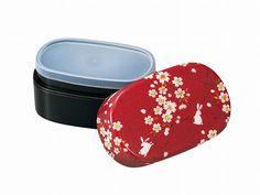Sakura Rabbit Oval Bento Box   Red