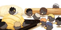 Haikyuu Funny, Haikyuu Manga, Haikyuu Fanart, Chibi Characters, Haikyuu Characters, Haikyuu Season 1, Baby Crows, Chibi Food, Akaashi Keiji