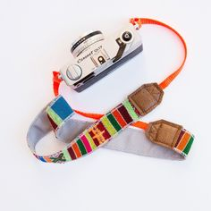"Popular Item alert!! LOVEBIRDSLA~ colorful camera strap 100% leather accent striped hand woven fabric with pop colored backing neon orange webbing~100% adjustable strap 57"" *Please note these are all"