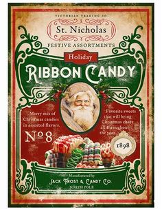 Santa's Ribbon Candy Tin Sign from Victorian Trading Co. Bohemian Christmas, Woodland Christmas, Christmas Fun, Vintage Christmas, Christmas Calendar, Christmas Ribbon, Christmas Cookies, Victorian Christmas Decorations, Candy Signs