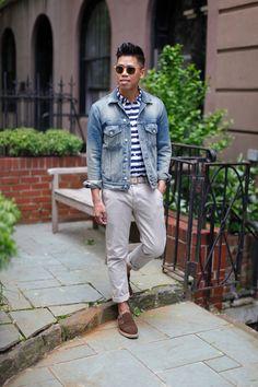 closetfreaksblog:  Outfit: Men's Denim Jacket Blue Jeans - See the full post HERE FACEBOOK | TWITTER | BLOGLOVIN | PINTEREST | LOOKBOOK