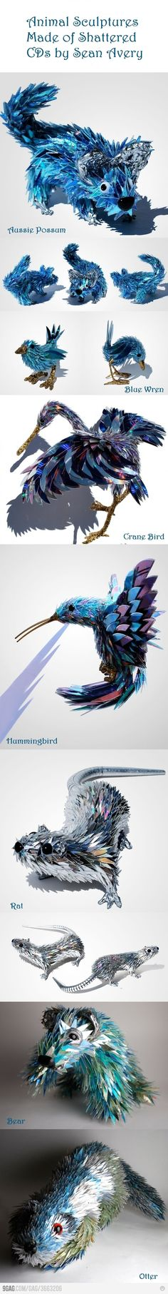 animal sculptures made of CD shards by Sean Avery