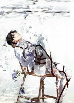 Levi Ackerman, water, drowning, chair, sad, flowers; Attack on Titan