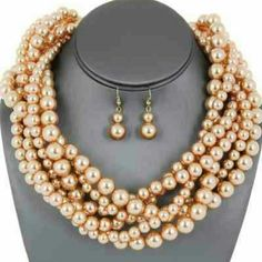 Statement Necklace Set Color:Taupe Size: 18 Inches Jewelry Necklaces