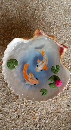 Miniature Koi Pond in Seashell, Fairy Garden Miniatures, Miniature Garden…