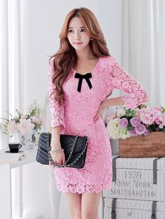 Morpheus Boutique  - Pink Bow Hollow Out Floral Hem Designer Dress, CA$200.26 (http://www.morpheusboutique.com/gifts/holiday-gift/pink-bow-hollow-out-floral-hem-designer-dress/)