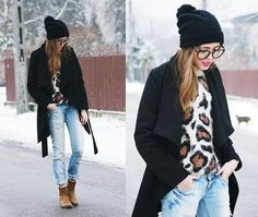 Zara Jeans, Mango Ankle Boots, Diy By My Mum Hat, Glasses, Sweater