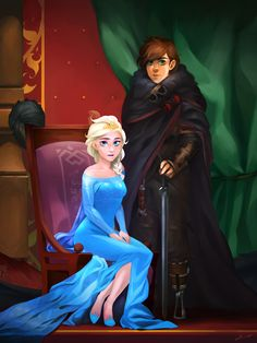 """Commission - Elsa and Hiccup Royal Portrait by charlestanart.deviantart.com on @DeviantArt - Crossover between """"Frozen"""" and """"How To Train Your Dragon"""""""