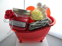 Valentine Gift Basket Soap and Candle / Red Tub / Valentines Day gift / I love you gift on Etsy, $31.50