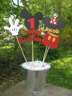 Mickey Mouse Birthday Table Centerpiece by PeanutGalleryStore