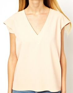Image 3 of ASOS T-Shirt With Plunge Neck