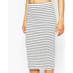 ASOS Midi Pencil Skirt in Stripe ($14) ❤ liked on Polyvore featuring skirts, bodycon pencil skirt, white skirt, bodycon skirt, high waisted skirts and high waist knee length pencil skirt