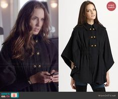 Spencer's black cape with gold buttons on Pretty Little Liars.  Outfit Details: http://wornontv.net/46033/ #PLL