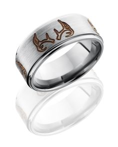 Anium 9mm Flat Band With Grooved Edges And Antler Pattern Deer Wedding