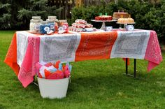 """Tablecloth • Aesthetic Nest: Party: Audrey's and Kate's """"Fair Day"""" Fourth Birthday Party"""