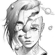28 Ideas For Design Art Tattoo Drawings Dark Art Drawings, Art Drawings Sketches Simple, Art Drawings For Kids, Pencil Art Drawings, Tattoo Sketches, Cool Drawings, Drawing Faces, Drawing Girls, Sketch Art