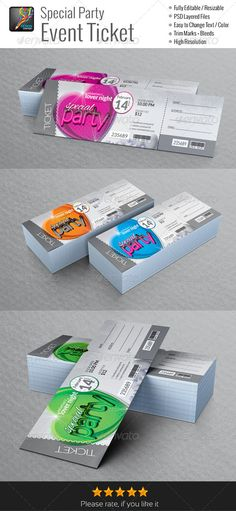 Event Tickets Template VII Ticket template, Event ticket and - party tickets templates